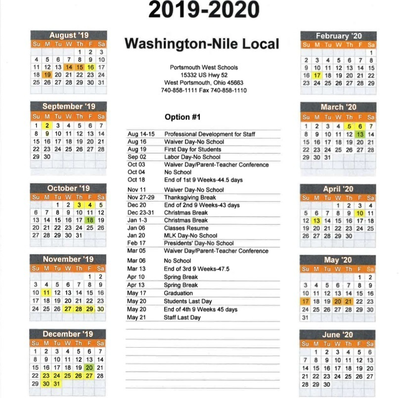 2019-2020 WNLS District Calendar