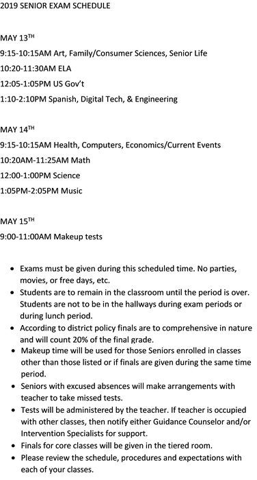 2019 Senior Exam Schedule