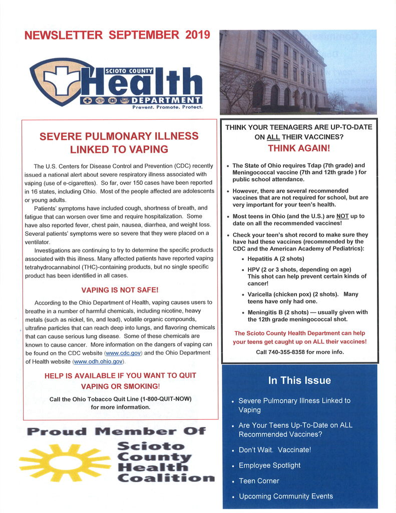Scioto County Health Dept. Flyer
