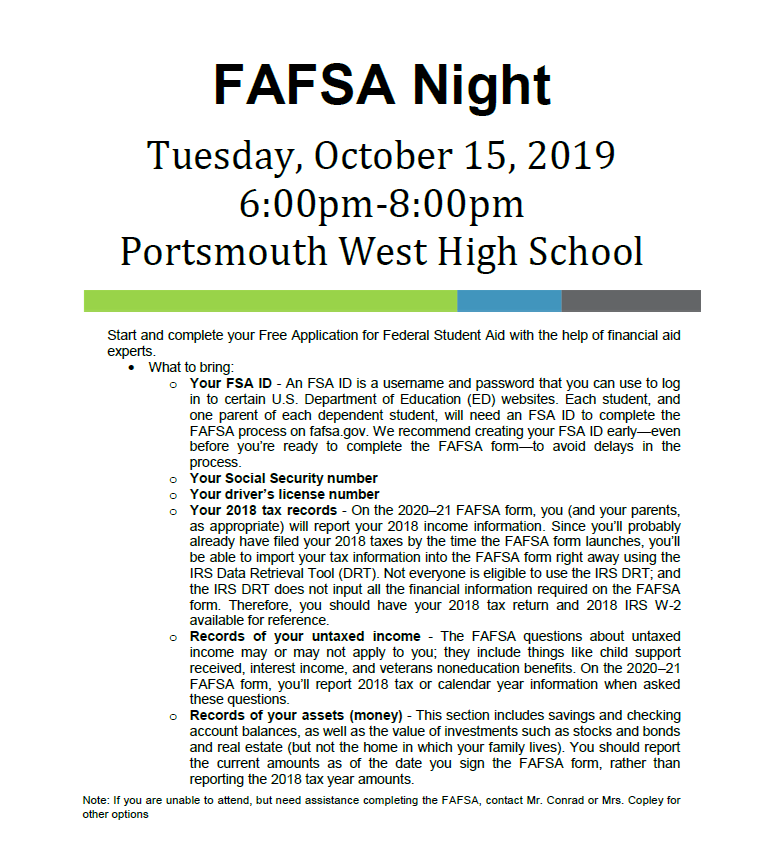 FAFSA night on 10/15/19
